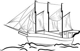 drawn sailing ship water transportation pencil and in color