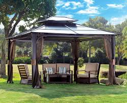 contemporary gazebo canopy beige mosquito netting white weather