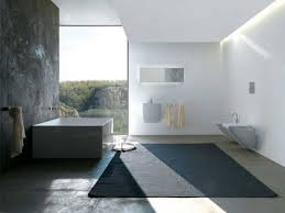 bathrooms minimalist cozy bathroom with dark rug and white