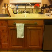 kitchen towel bars ideas idea implemented 2 towel bar installed kitchen sink on