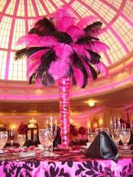 white ostrich feather centerpiece with a touch of black you can
