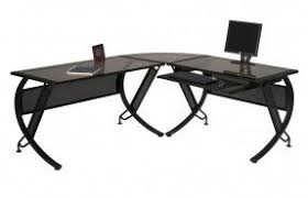 Black Tempered Glass Computer Desk Glass Top Computer Desk Visualizeus