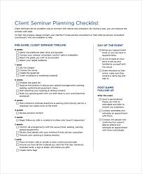 Planning Checklist Business Event Project by Sample Seminar Planning Templates 7 Free Documents Download In