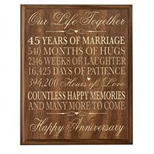 45 wedding anniversary parents 45th wedding anniversary wall plaque gifts for