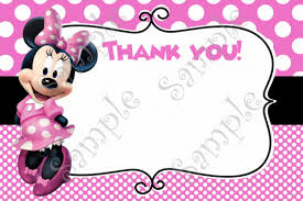 minnie mouse thank you cards minnie mouse birthday invitation free thank you card
