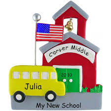 my new school ornament personalized flagpole ornaments and