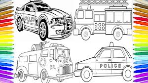 police car fire truck coloring book fun painting learning colors