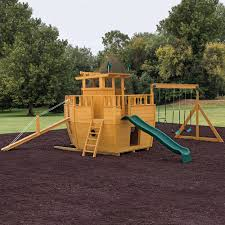 playground equipment or backyard playsets wooden beam swing set