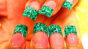 nail design tips home how to glitter acrylic nails green youtube