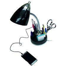 limelights flossy organizer desk lamp with charging outlet lazy