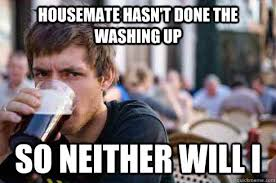 Housemate Meme - housemate hasn t done the washing up so neither will i lazy