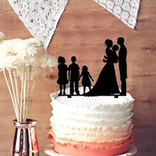 family wedding cake toppers blessed groom holding baby with 3 kids silhouette wedding