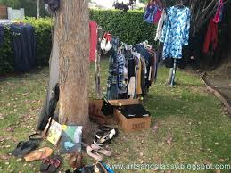 Backyard Garage Ideas Blah To Tada Yard Sale Tips Within Garage Ideas Hanging Clothes