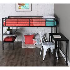 amazon com twin modern metal loft bed with desk and shelves