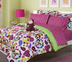 Girls Bed In A Bag by Pink U0026 Green Peace Sign Hearts Monkey Bedding Twin Bed In