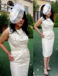 vintage 60s ivory lace wiggle dress by parnes feinstein mad men