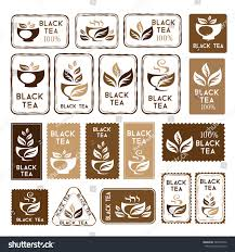 black tea package decorations stickers banners stock vector
