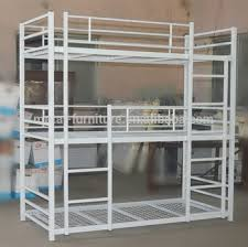 Three Level Bunk Bed China High Quality Cheap Metal Iron Army Dormitory Hostels 3 Level