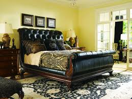 bedroom leather and wood sleigh bed travertine alarm clocks