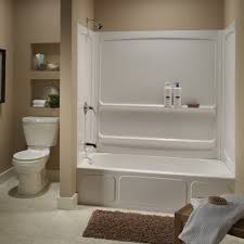bathroom with neutral walls and white fiberglass shower stall