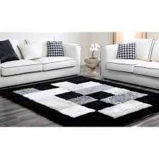floors u0026 rugs black and white geomatric shaggy rugs for
