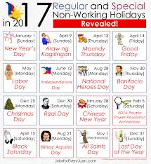 17 regular and special non working holidays in 2017 revealed