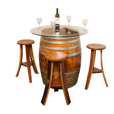 Glass Top Table Glass Top Personalized Refinished Wine Barrel Set
