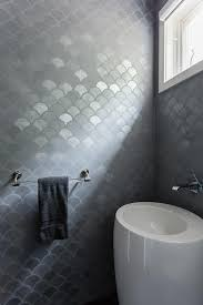 bathroom tile feature ideas modern gray bathroom features walls clad in gray metallic fish