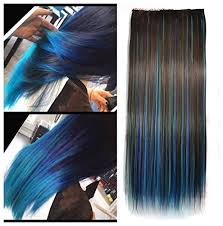 blue hair extensions brown mixed royal blue two colors ombre hair