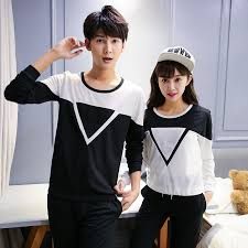 triangle cotton korean couple shirts with long sleeves couple