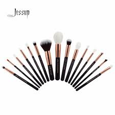 jessup brand rose gold black professional makeup brushes set make