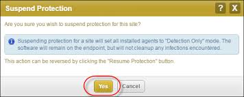 suspend and resume suspending and resuming site protection