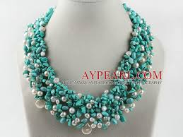 white turquoise necklace images Gorgeous white pearl and turquoise woven necklace jpg