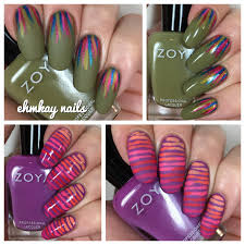 ehmkay nails zoya wanderlust collection line and stripes nail art