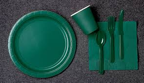forest green paper plates napkins and cups 2 order