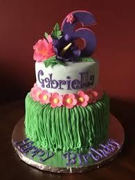 Tropical Theme Birthday Cake - moana themed 5th birthday cake in buttercream birthday party