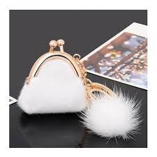 unique key ring unique keychain women handbag keychain pompon keychain fur plush