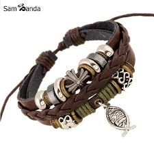 leather bracelet with cross images Buy new leather bracelet hot jewelry fashion multilayer cute charm jpg