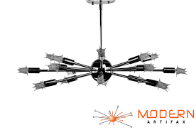 Atomic Chandelier Chrome 24 Inches In Diameter With 18 Arms Lamp Has A Flat Shape
