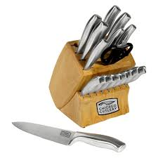 Buck Kitchen Knives by Cutlery Insignia Steel 18 Piece Knife Block Set