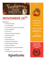 coffee county academy news thanksgiving baskets