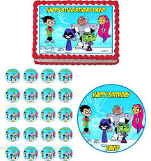 teen titans edible birthday cake cupcake toppers party