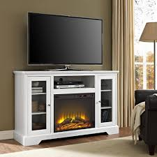 Design Living Room With Fireplace And Tv Walker Edison Furniture Company 52 In Highboy Fireplace Wood Tv