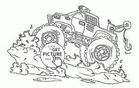 monster truck blue thunder coloring page for kids transportation