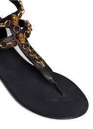 ash u0027macumba u0027 skull chain leather thong sandals in black lyst