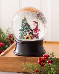 santa with puppy musical snow globe balsam hill