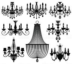 Black Chandelier Clip Art Vintage Crystal Chandeliers Vector Silhouettes Isolated On White