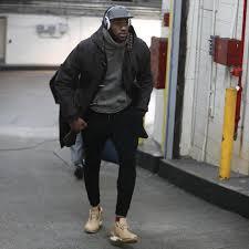 lebron james wears louis vuitton coat rrl sweatshirt john