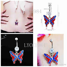 surgical steel earrings allergy 2018 allergy free 316l surgical steel rebel flag butterfly belly