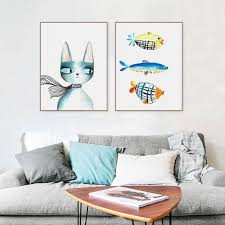 Kawaii Room Decor by Aliexpress Com Buy Nordic Modern Kawaii Animal Cat Fish Canvas